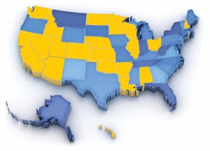States with and without 9-1-1 training requirements.