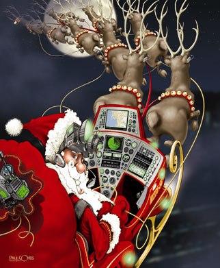 Santa's Sleigh; Illustration by Paul Combs