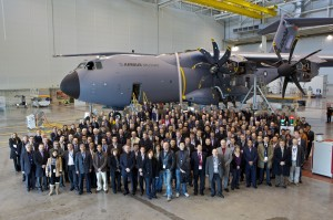Attendees of the Cassidian User Conference in front of a Military Airbus.