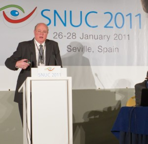 Terry Hall addresses an international audience at the Cassidian User Conference in Spain on Jan. 26, 2011.