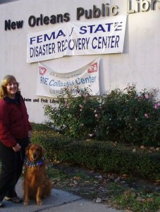 Janet Velenovsky and Kaizen visit  a disaster recovery center in Louisiana.