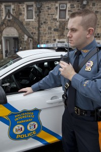 Detective Raymond Walter of the Palisades Interstate Parkway Police operating a new APX6000 radio on PSIC.  Photo by Anthony Toranto, PIPC.