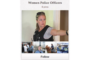 In the U.S., Pinterest users are reported to be 83% female. The Kansas City Police Department has started a board catering to women in policing.