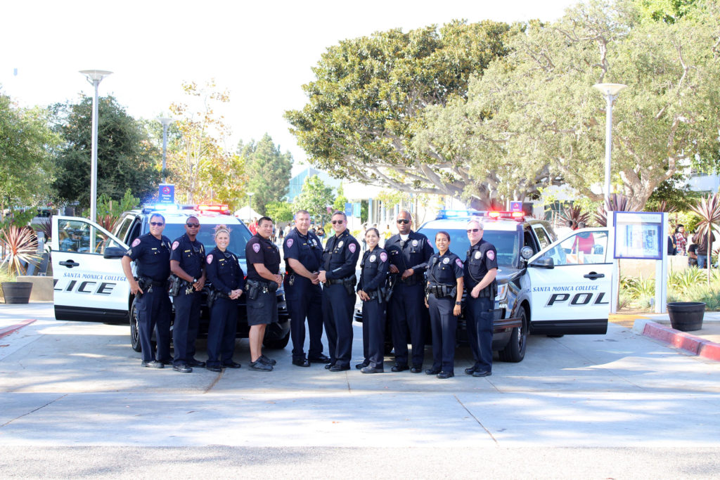 The Santa Monica College Police department on the college's main campus, wearing pink patches for the Pink Patch Project, through which law enforcement agencies in Los Angeles County raise funds each October for Breast Cancer Awareness Month.