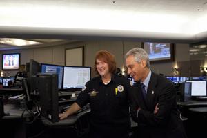 Amy Lovell and Mayor of Chicago, Rahm Emanuel. Photo Courtesy Amy Lovell