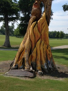 Carvings made by firefighters from the downed trees after Hurricane Katrina.